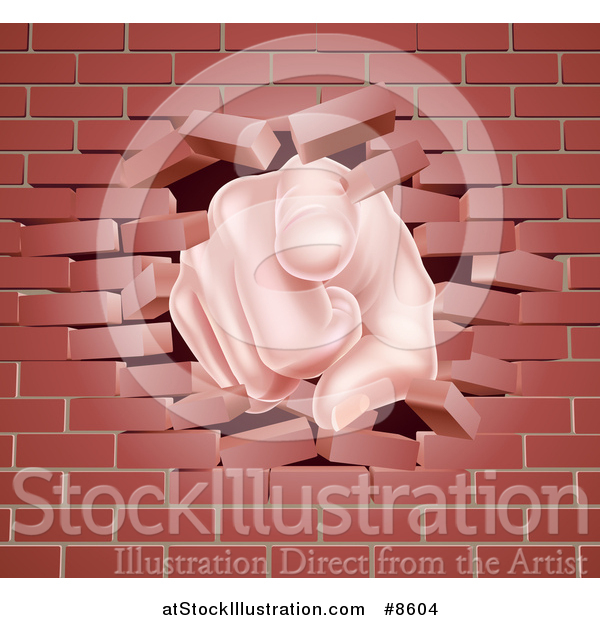 Vector Illustration of a Cartoon Caucasian Hand Pointing Outwards, Breaking Through a Brick Wall