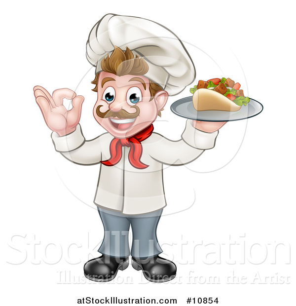 Vector Illustration of a Cartoon Caucasian Male Chef Holding a Kebab Sandwich on a Tray and Gesturing Okay