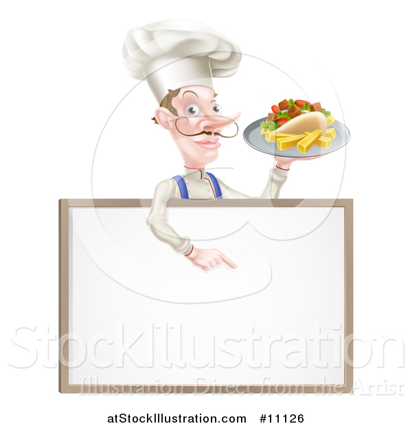Vector Illustration of a Cartoon Caucasian Male Chef with a Curling Mustache, Holding a Kebab Sandwich on a Tray, Pointing down over a Blank Menu Sign