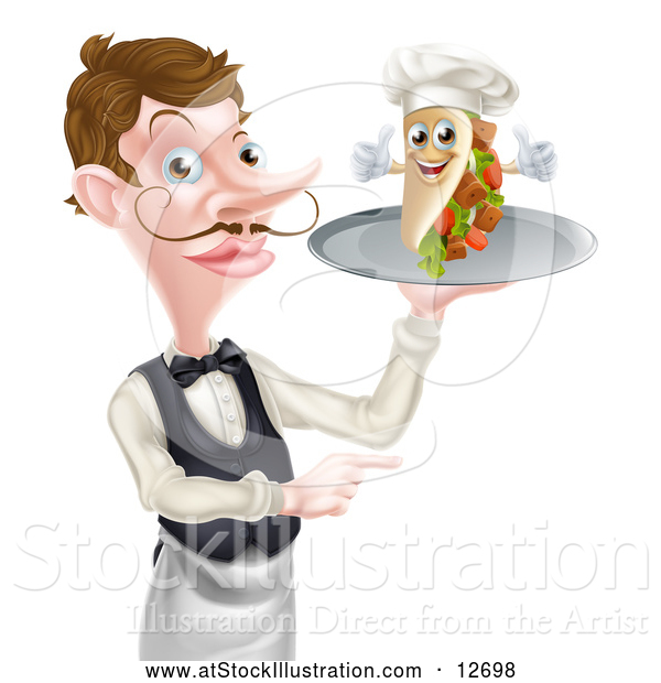 Vector Illustration of a Cartoon Caucasian Male Waiter Pointing and Holding a Kebab Sandwich on a Tray