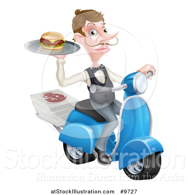 Vector Illustration of a Cartoon Caucasian Male Waiter with a Curling Mustache, Holding a Burger on a Tray on a Moped