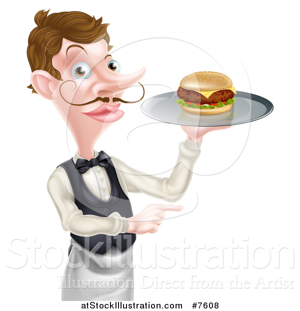 Vector Illustration of a Cartoon Caucasian Male Waiter with a Curling Mustache, Holding a Cheeseburger on a Platter and Pointing to the Right