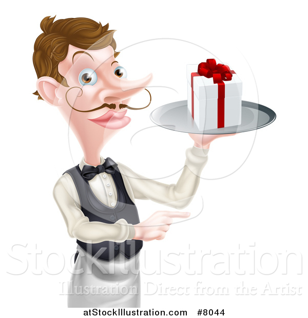 Vector Illustration of a Cartoon Caucasian Male Waiter with a Curling Mustache, Holding a Gift on a Platter and Pointing