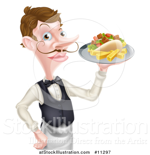 Vector Illustration of a Cartoon Caucasian Male Waiter with a Curling Mustache, Holding a Kebab Sandwich and Fries on a Tray