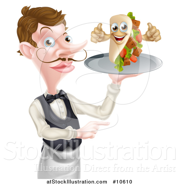 Vector Illustration of a Cartoon Caucasian Male Waiter with a Curling Mustache, Holding a Kebab Sandwich Character on a Tray and Pointing
