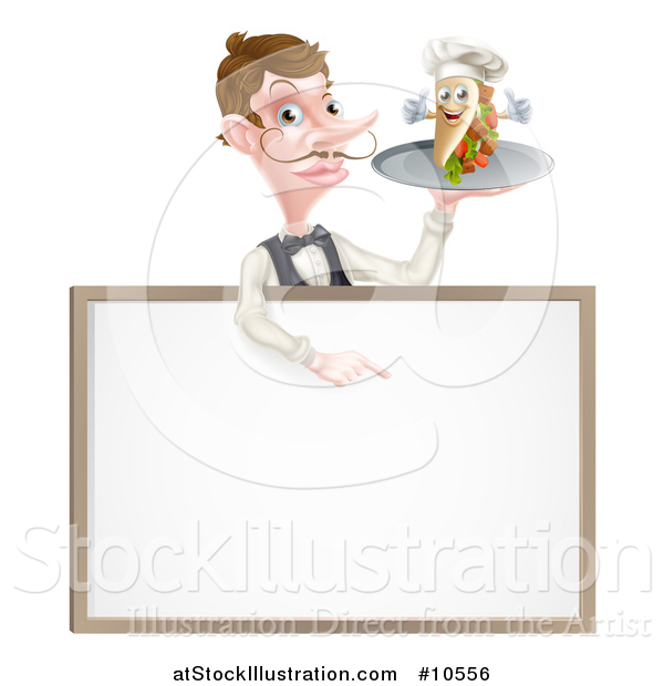 Vector Illustration of a Cartoon Caucasian Male Waiter with a Curling Mustache, Holding a Kebab Sandwich Character on a Tray, Pointing down over a Blank Sign