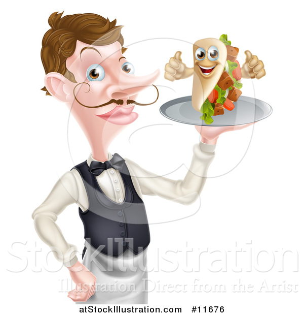Vector Illustration of a Cartoon Caucasian Male Waiter with a Curling Mustache, Holding a Kebab Sandwich on a Tray