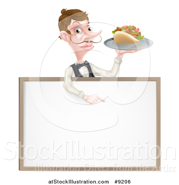 Vector Illustration of a Cartoon Caucasian Male Waiter with a Curling Mustache, Holding a Kebab Sandwich on a Tray, Pointing down over a Blank Sign
