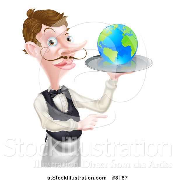 Vector Illustration of a Cartoon Caucasian Male Waiter with a Curling Mustache, Holding Earth on a Tray and Pointing