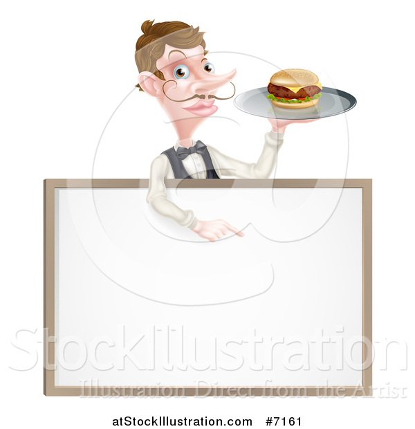 Vector Illustration of a Cartoon Caucasian Male Water with a Curling Mustache, Holding a Burger on a Tray and Pointing down over a White Sign