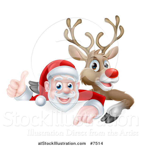 Vector Illustration of a Cartoon Christmas Red Nosed Reindeer and Santa Giving a Thumb up Above a Sign 2