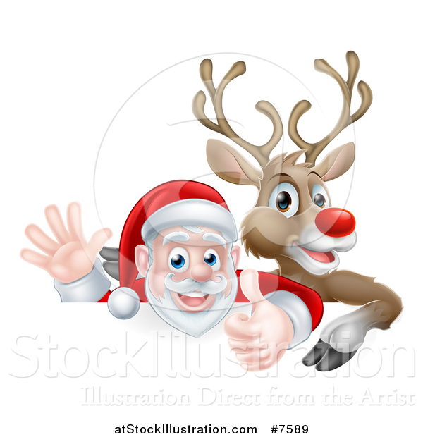 Vector Illustration of a Cartoon Christmas Red Nosed Reindeer and Santa Giving a Thumb up and Waving Above a Sign