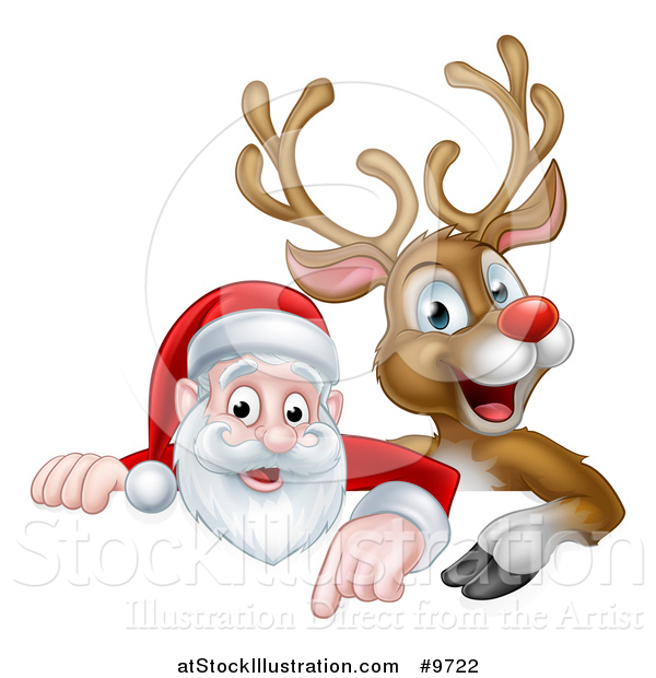 Vector Illustration of a Cartoon Christmas Red Nosed Reindeer and Santa Pointing down Above a Sign