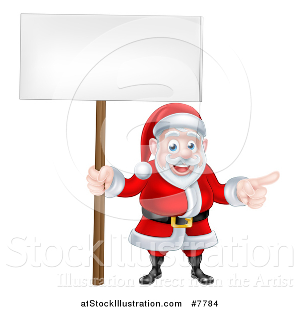 Vector Illustration of a Cartoon Christmas Santa Claus Pointing and Holding a Blank Sign