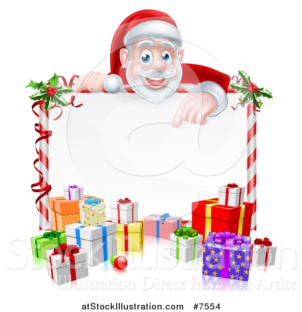 Vector Illustration of a Cartoon Christmas Santa Claus Pointing down over a Blank Sign with Gifts