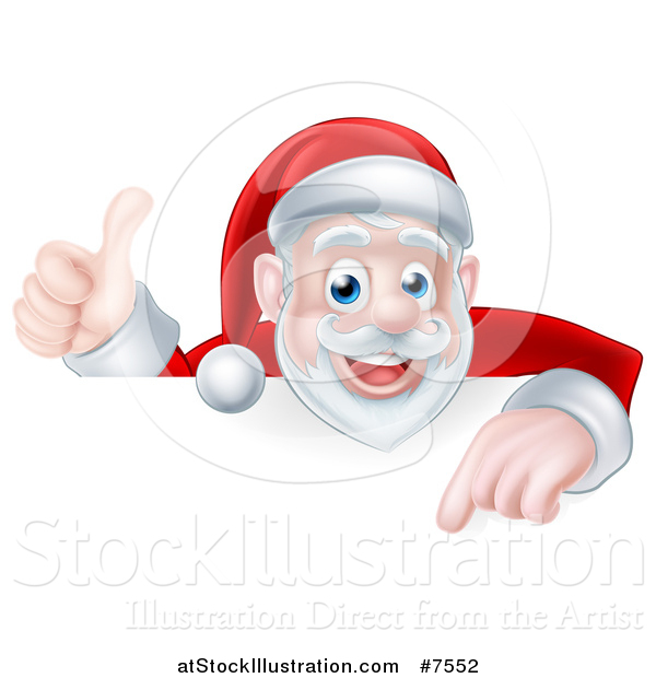 Vector Illustration of a Cartoon Christmas Santa Claus Pointing down over a Sign and Giving a Thumb up