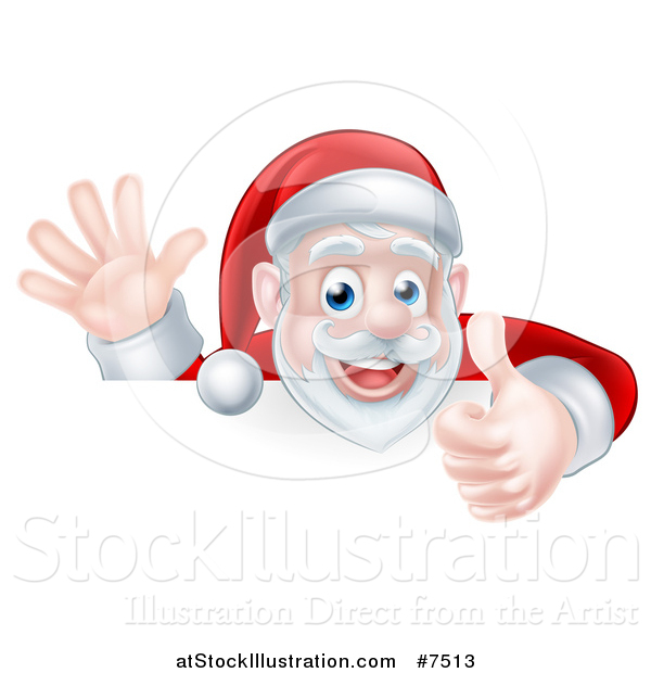 Vector Illustration of a Cartoon Christmas Santa Claus Waving and Giving a Thumb up over a Sign