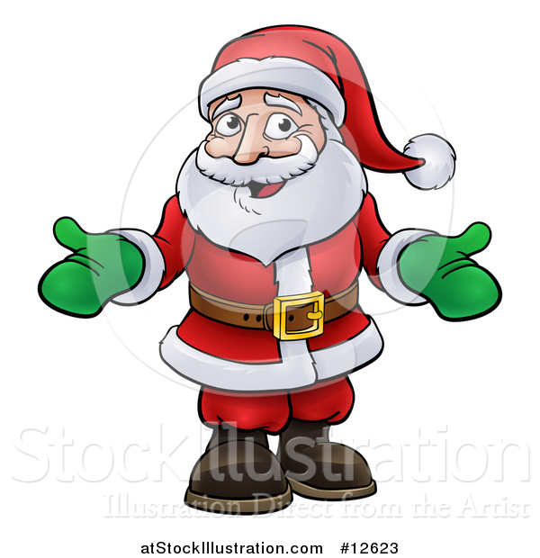 Vector Illustration of a Cartoon Christmas Santa Claus Wearing Green Mittens