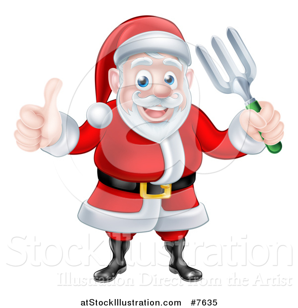 Vector Illustration of a Cartoon Christmas Santa Holding a Garden Fork and Giving a Thumb up 2