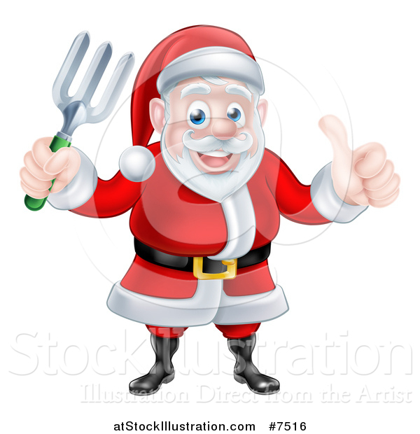 Vector Illustration of a Cartoon Christmas Santa Holding a Garden Fork and Giving a Thumb up