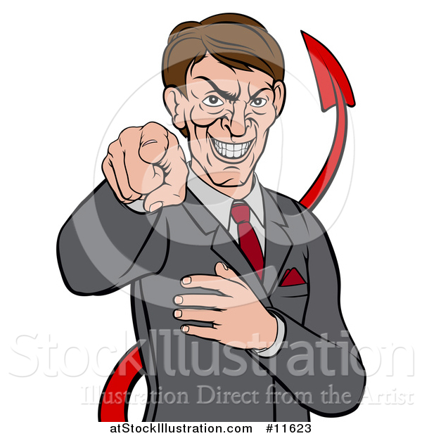 Vector Illustration of a Cartoon Corrupt White Devil Businessman Pointing Outwards, from the Waist up