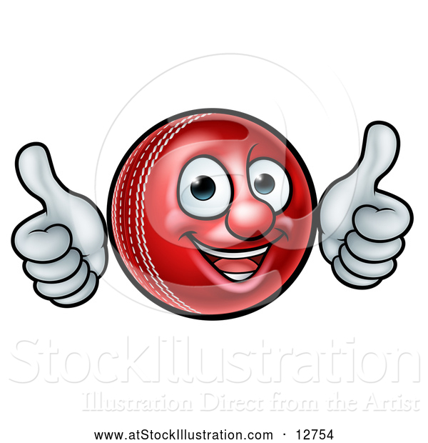 Vector Illustration of a Cartoon Cricket Ball Mascot Giving Two Thumbs up