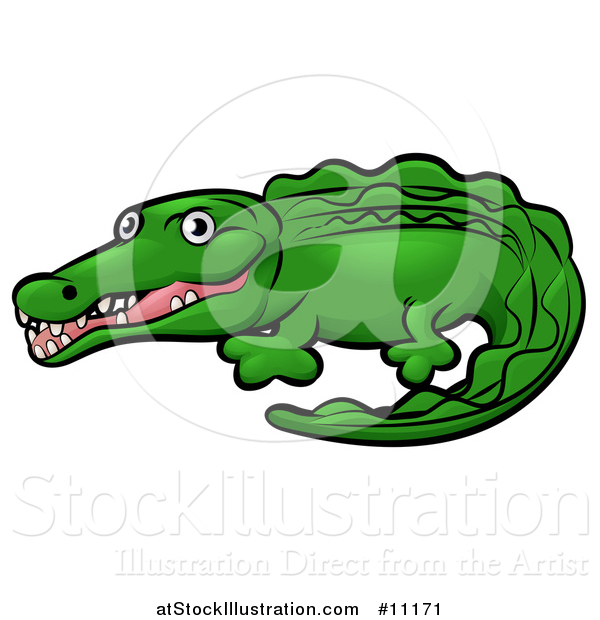 Vector Illustration of a Cartoon Crocodile