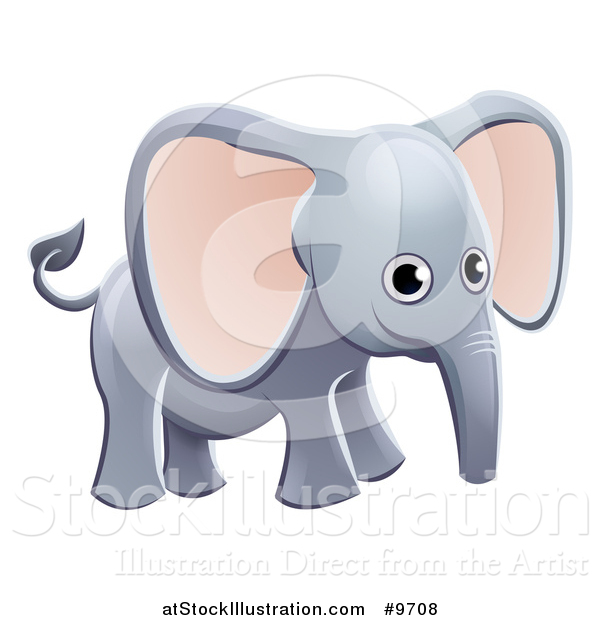 Vector Illustration of a Cartoon Cute African Safari Elephant