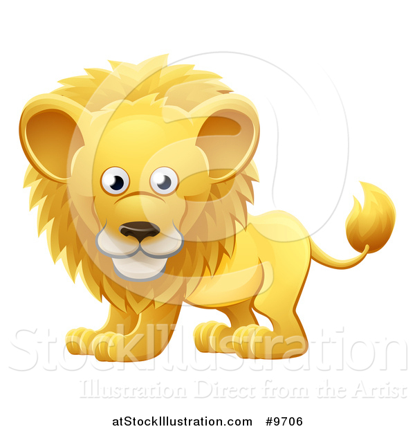 Vector Illustration of a Cartoon Cute African Safari Male Lion