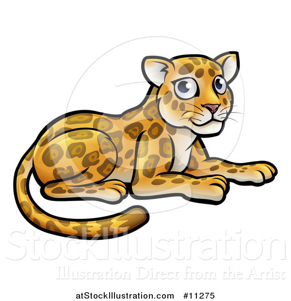 Vector Illustration of a Cartoon Cute Leopard or Jaguar Resting