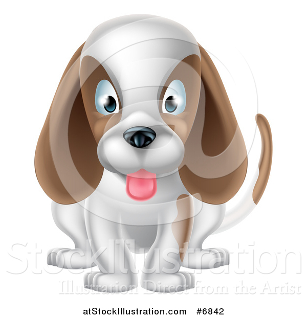 Vector Illustration of a Cartoon Cute White and Brown Puppy Dog Sitting and Panting
