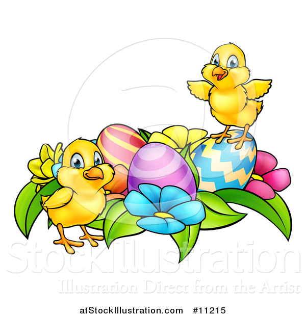 Vector Illustration of a Cartoon Cute Yellow Chicks with Easter Eggs and Flowers