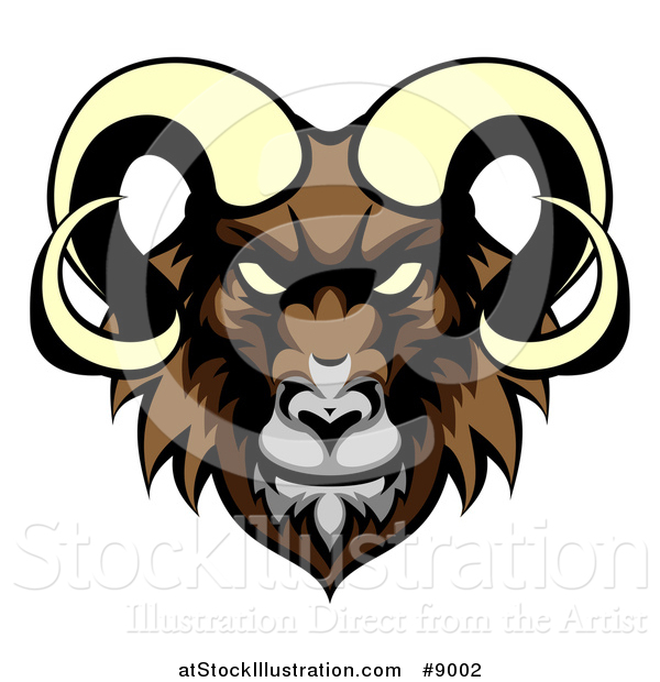 Vector Illustration of a Cartoon Demonic Angry Ram Head Mascot
