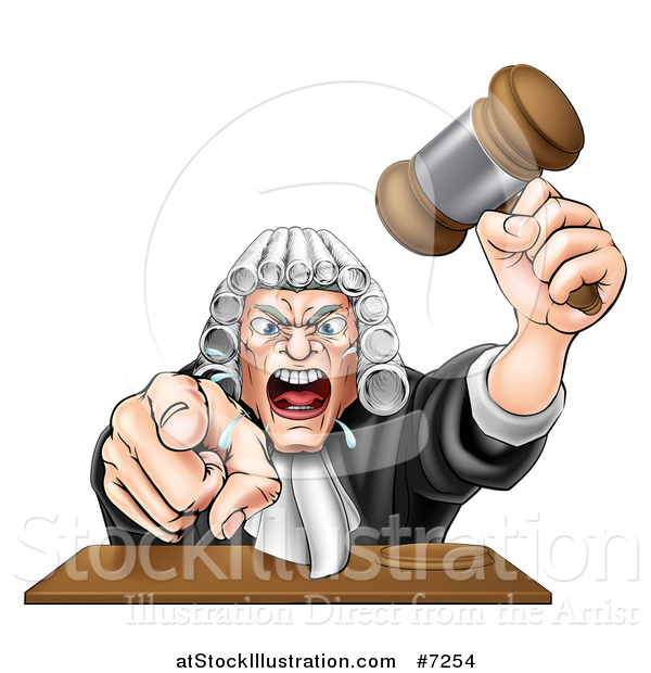Vector Illustration of a Cartoon Fierce Angry White Male Judge Spitting, Holding a Gavel and Pointing at the Viewer