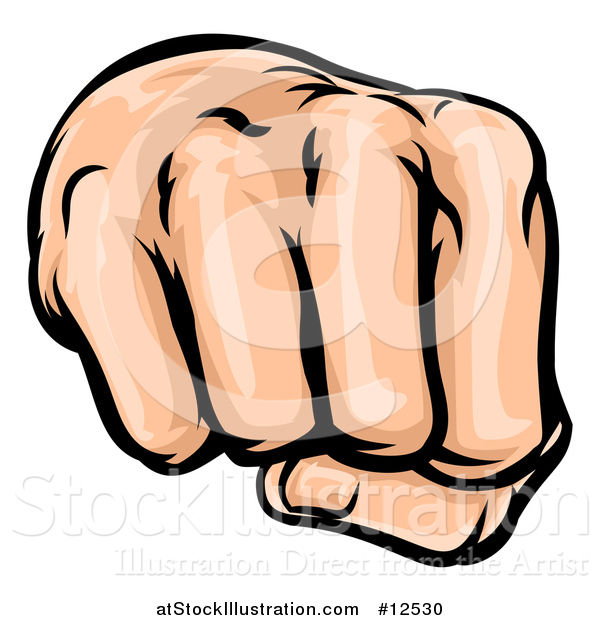 Vector Illustration of a Cartoon Fist Punching