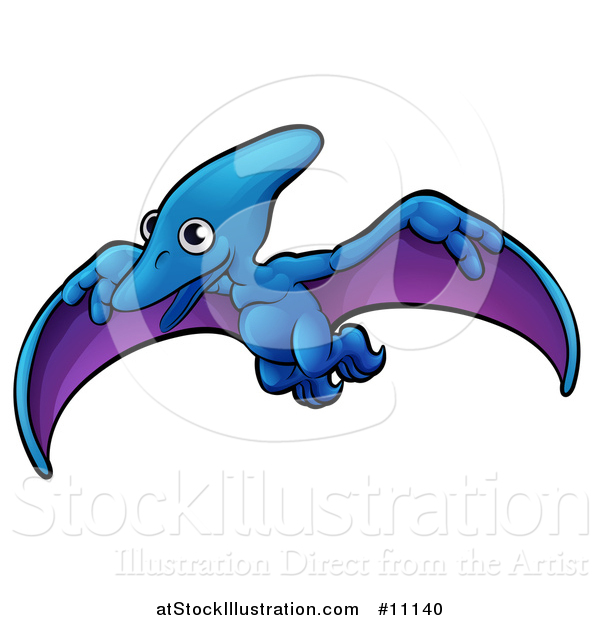 Vector Illustration of a Cartoon Flying Pterodactyl Dino