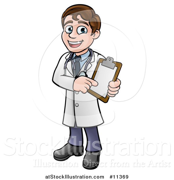 Vector Illustration of a Cartoon Friendly Brunette White Male Doctor Holding a Chart