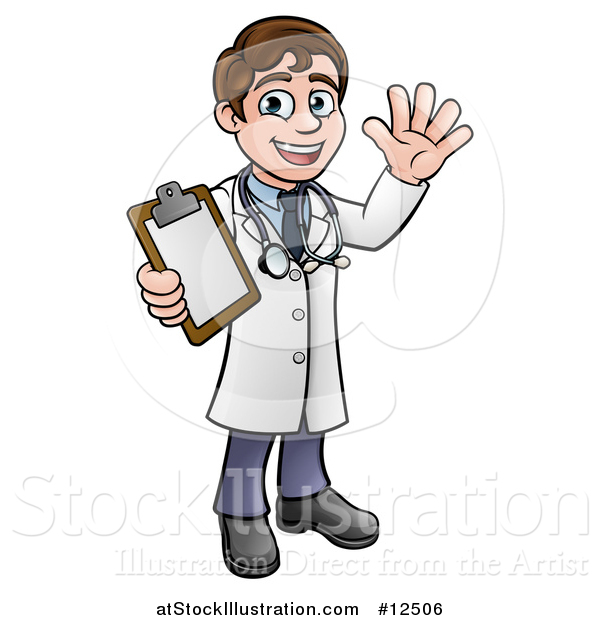 Vector Illustration of a Cartoon Friendly Brunette White Male Doctor Holding a Clipboard Chart
