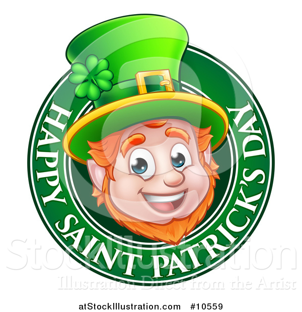 Vector Illustration of a Cartoon Friendly Leprechaun Face in a Happy Saint Patricks Day Greeting Circle