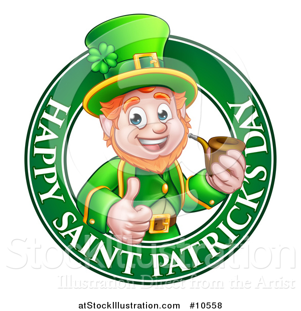 Vector Illustration of a Cartoon Friendly Leprechaun Giving a Thumb up and Smoking a Pipe in a Happy Saint Patricks Day Greeting Circle