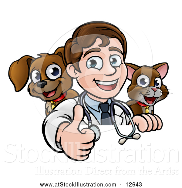 Vector Illustration of a Cartoon Friendly Male Veterinarian Giving a Thumb up over a Sign with a Cat and Dog Behind Him
