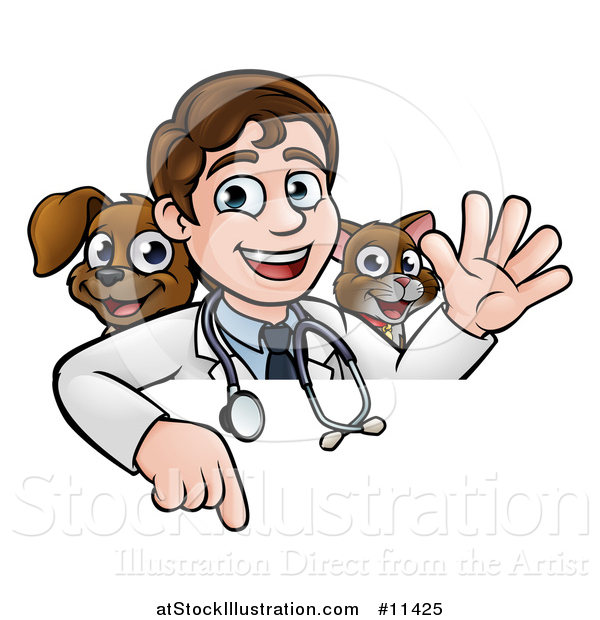 Vector Illustration of a Cartoon Friendly Male Veterinarian Waving and Pointing down over a Sign with a Cat and Dog Behind Him