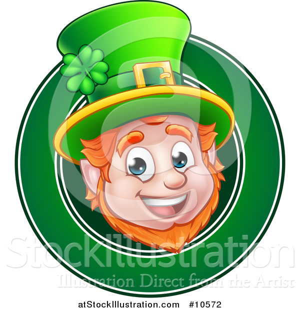 Vector Illustration of a Cartoon Friendly St Patricks Day Leprechaun Face in a Green Circle