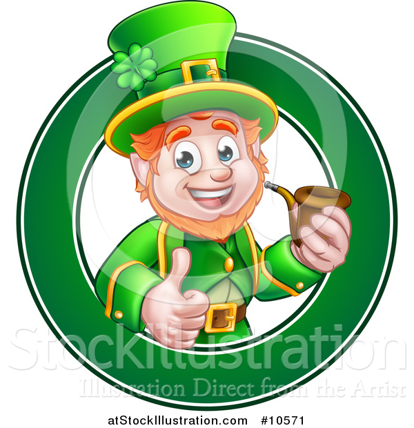 Vector Illustration of a Cartoon Friendly St Patricks Day Leprechaun Giving a Thumb up and Smoking a Pipe in a Green Circle