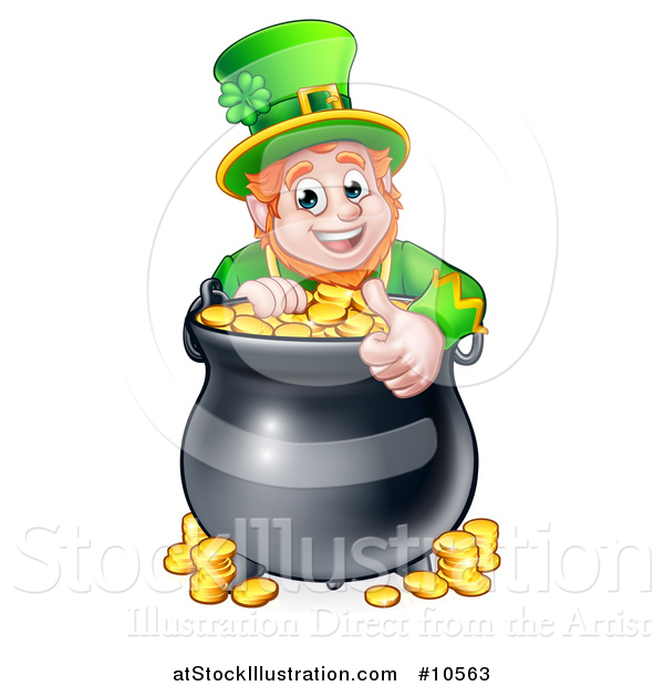 Vector Illustration of a Cartoon Friendly St Patricks Day Leprechaun Giving a Thumb up over a Pot of Gold
