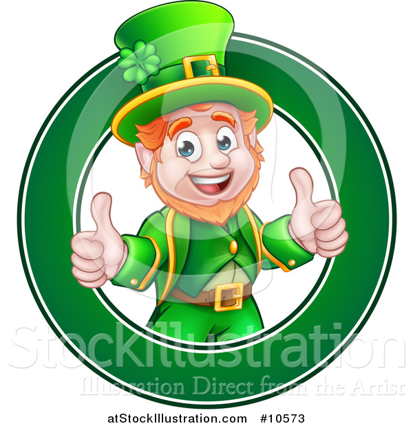 Vector Illustration of a Cartoon Friendly St Patricks Day Leprechaun Giving Two Thumbs up in a Green Circle