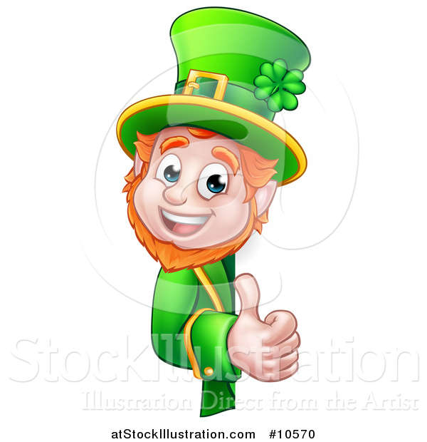 Vector Illustration of a Cartoon Friendly St Patricks Day Leprechaun Holding a Thumb up Around a Sign