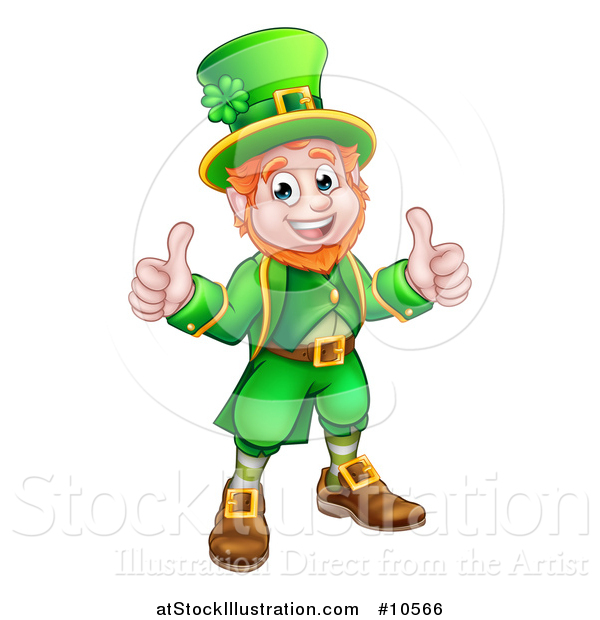 Vector Illustration of a Cartoon Friendly St Patricks Day Leprechaun Holding up Two Thumbs