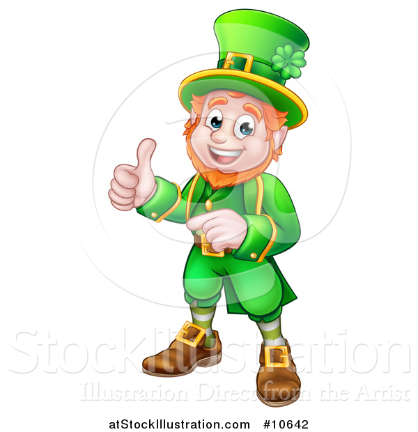 Vector Illustration of a Cartoon Friendly St Patricks Day Leprechaun Pointing and Giving a Thumb up