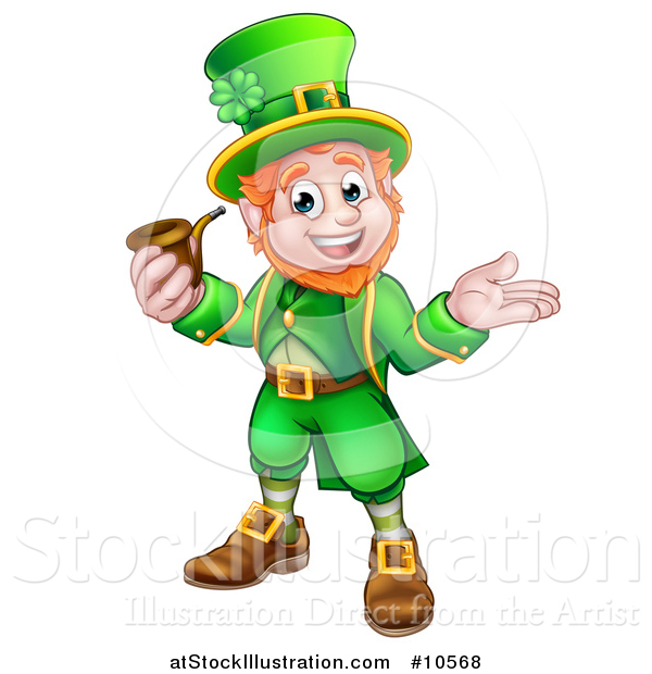 Vector Illustration of a Cartoon Friendly St Patricks Day Leprechaun Presenting and Holding a Pipe